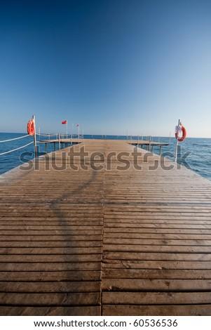 wooden pier in turkey - stock photo