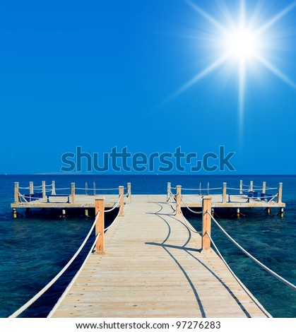 Wooden Pier Jetty into Heaven - stock photo