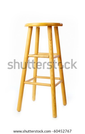 Wooden pine stool on white - stock photo