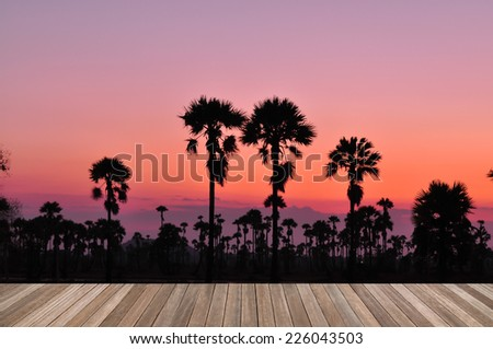 wooden plank platform on silhouette palm trees background with beautiful sunset sky - stock photo