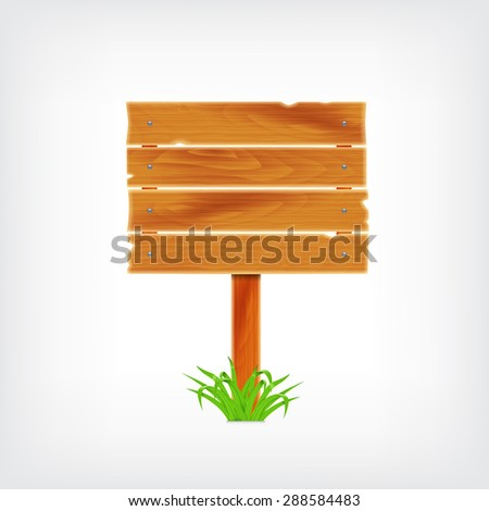 Wooden plank with grass. Background with wooden plank - stock photo