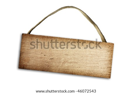Wooden plaque on a white background - stock photo