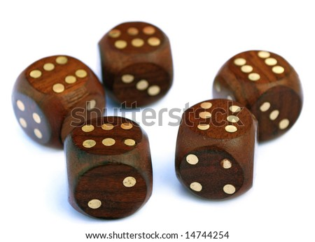 wooden playing bones with pls on a white background - stock photo