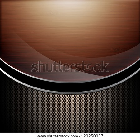 Wooden polished background combine with metallic perforated background - stock photo