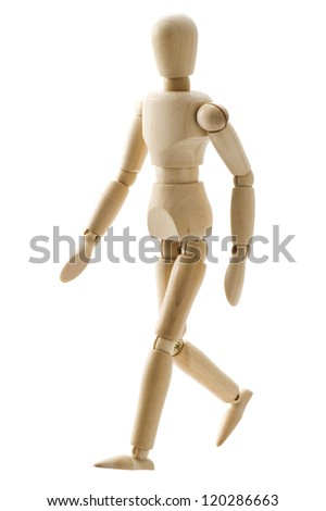 Wooden pose puppet isolated on white background - stock photo