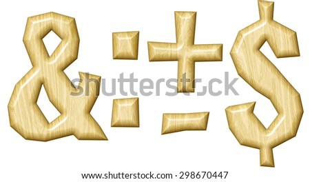 Wooden punctuation marks set isolated on white background. - stock photo