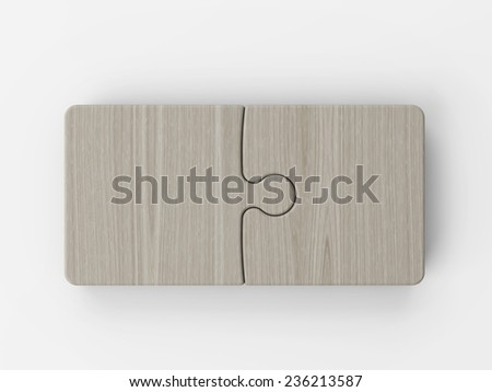 Wooden puzzle pieces - stock photo