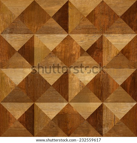 Wooden pyramids stacked for seamless background, coffered paneling, rosewood veneer - stock photo