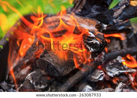 wooden pyre in nature - stock photo