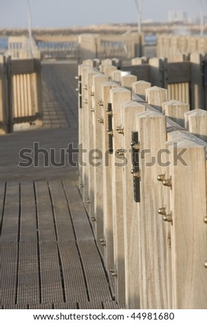 wooden railing - stock photo