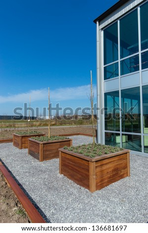 wooden raised garden bed with young tree in modern garden - stock photo