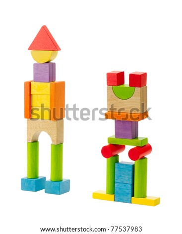 Wooden robots built from wooden blocks and joint to each other an image isolated on white - stock photo