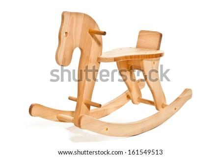 Wooden Rocking Horse on white background - stock photo