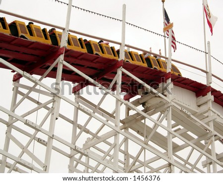 Wooden Roller Coaster, Santa Cruz, California - stock photo
