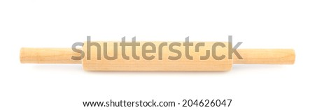 Wooden rolling pin utensil, roller kind, isolated over the white background - stock photo