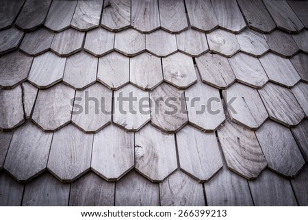 wooden roof, black border - stock photo