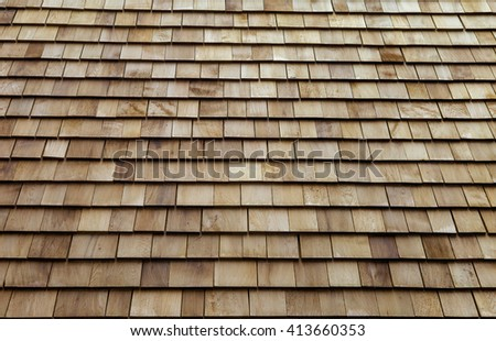 Wooden roof tile background - stock photo