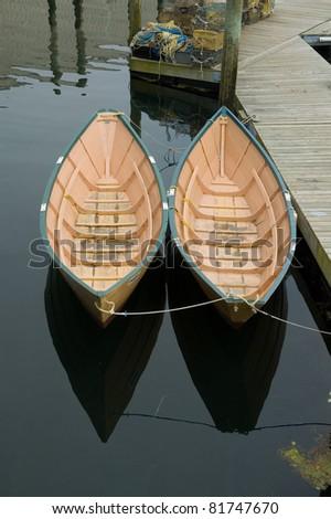 Wooden rowing dories, Gloucester, Massachusetts - stock photo
