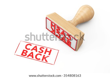 Wooden Rubber Stamp with Cash Back Sign on a white background - stock photo