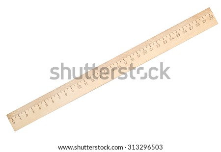 wooden ruler isolated on white background - stock photo