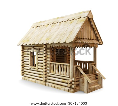 Wooden rural house isolated on white background. 3d illustration. - stock photo