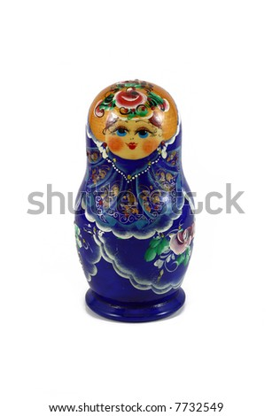 Wooden Russian Doll in blue isolated on white - stock photo