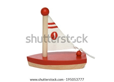Wooden sailboat on white background. Clipping path included. - stock photo