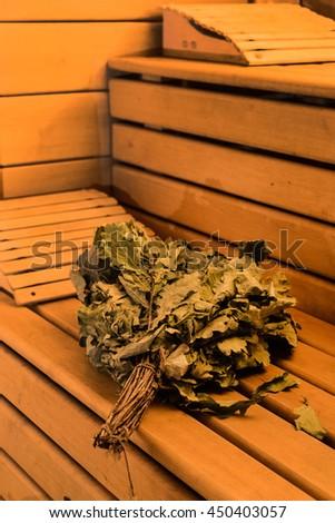 wooden sauna - stock photo