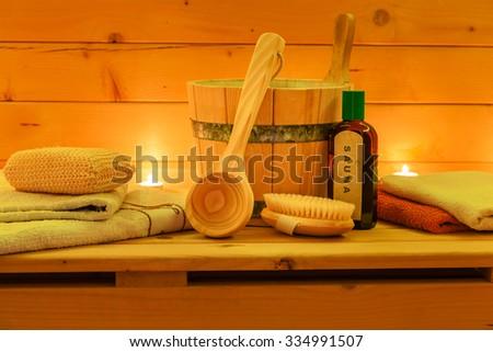 Wooden Sauna and Sauna Accessories - stock photo