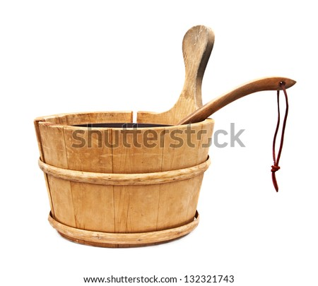 Wooden sauna bucket Isolated on a white background - stock photo