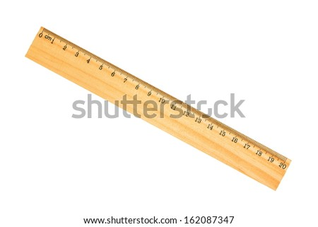 wooden school ruler isolated on white - stock photo