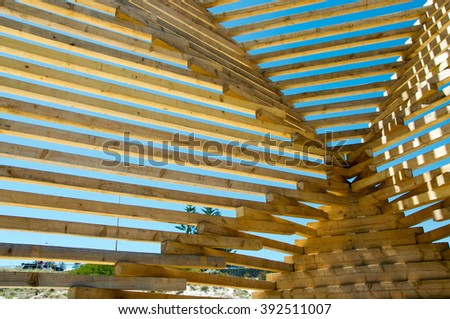 Wooden sculpture detail at Sculptures by the Sea 2016/Wood Abstract/COTTESLOE,WA,AUSTRALIA-MARCH 12,2016: Wooden sculpture detail at Sculptures by the Sea in Cottesloe,Western Australia. - stock photo