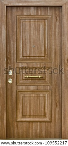 Wooden Security Door - stock photo