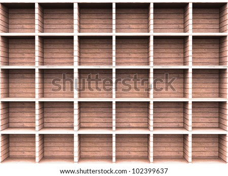 Wooden shelf for background - stock photo