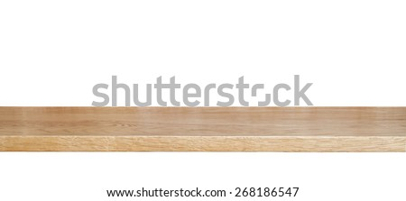 wooden shelf isolated on a white background - stock photo