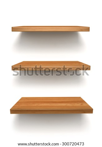 wooden shelf on the wall - stock photo