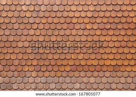 Wooden shingels on housewall - stock photo