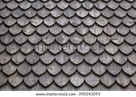 Wooden shingles texture background, frontal. - stock photo