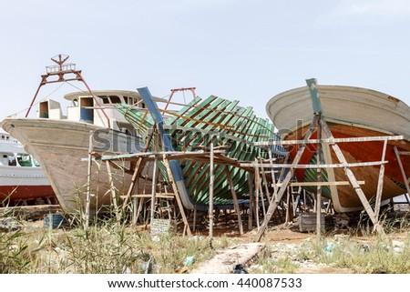 Wooden ship factory, Ezbet El-Borg, Egypt. - stock photo