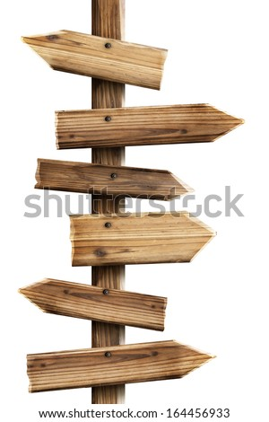 Wooden sign arrows isolated on white background High resolution  - stock photo
