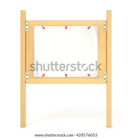 Wooden sign board with blank poster and red thumbtack. 3D render illustration isolated on white background - stock photo