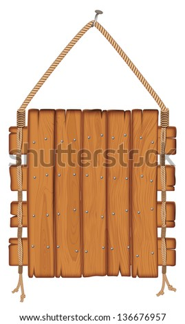 wooden sign hanging on a rope. isolated on white background - stock photo