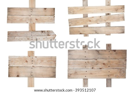 Wooden  sign isolated on white background - stock photo