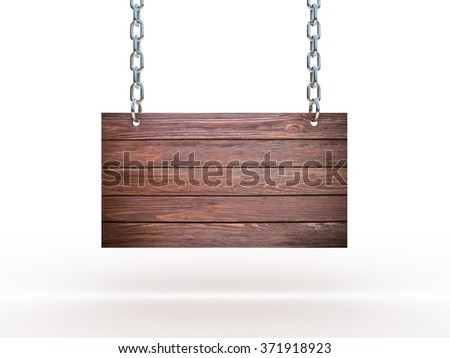 Wooden sign on the chains - stock photo