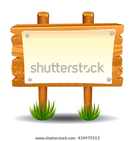 Wooden sign post icon symbol label set - stock photo