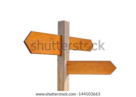 Wooden Sign Post Isolated on White Background - stock photo