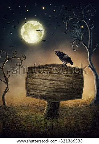 Wooden signboard and a crow - stock photo