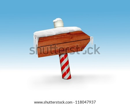 Wooden signboard during winter - stock photo