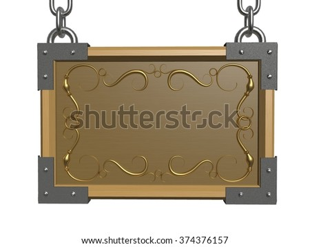 Wooden signboard hanging on a white background. - stock photo