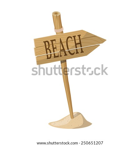 Wooden signpost indicating Beach direction isolated over white background. Raster version - stock photo